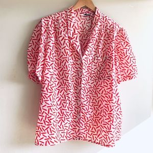 Vintage Tick Tack Red and White Shirt size XL
